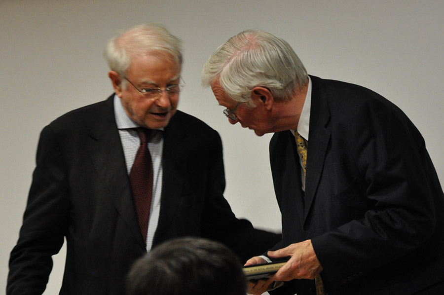 Dr Johnson, the Society's President, presents Professor Morgan with a bound copy of the volume