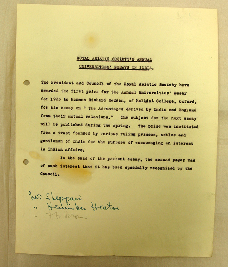 delving into the archives the universities prize essay royal notification of the 1933 prize winner