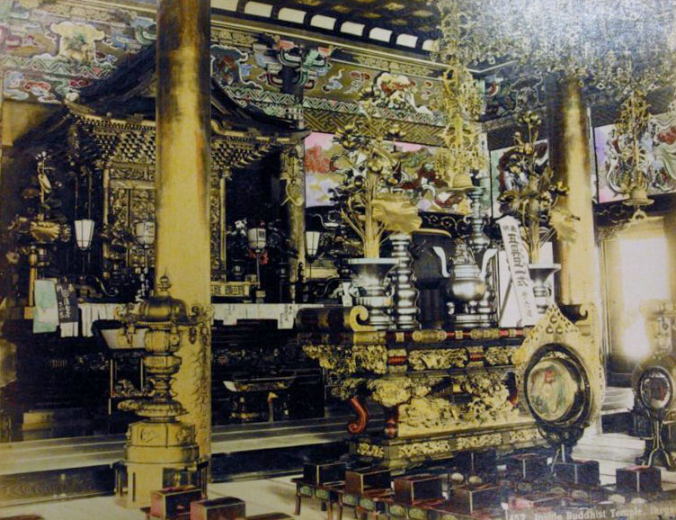 Interior of Buddhist temple, Ikegami, Tokyo