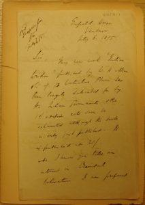 Letter from Sir Monier Monier-Williams
