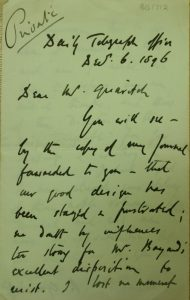Letter from Edwin Arnold