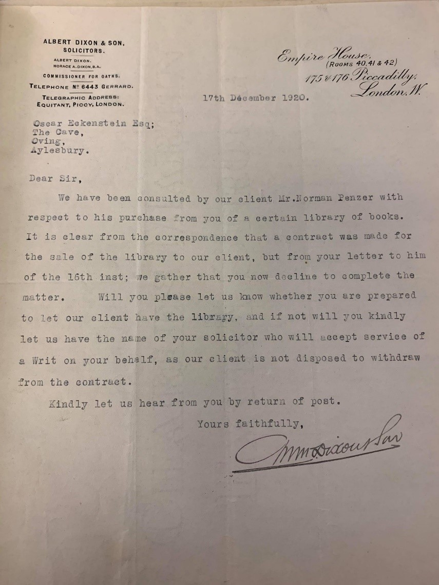 Letter from Penzer's solicitor