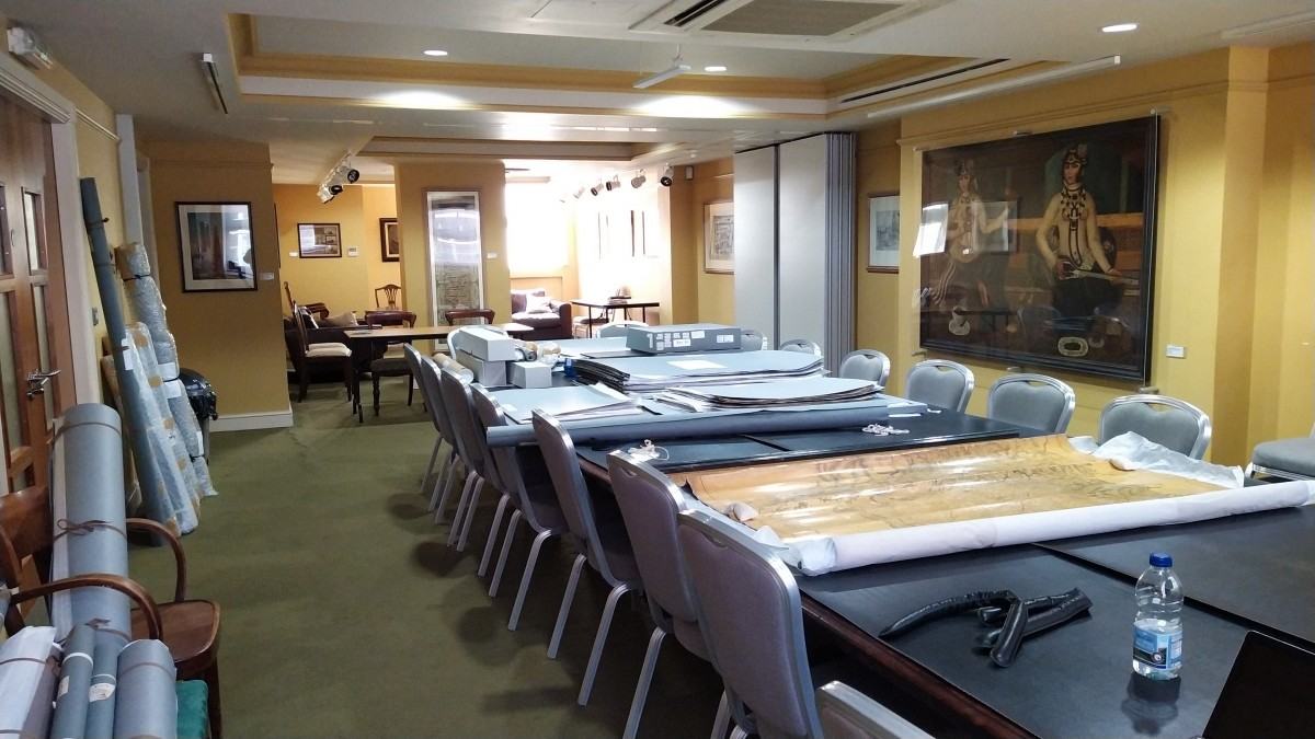 The Society's map collections in the RAS Council room.