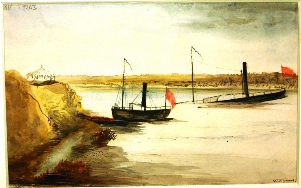 RAS 024:015 Sketch of the sinking Nimrod (1842). Watercolour: 13.7 x 21.8 cms.