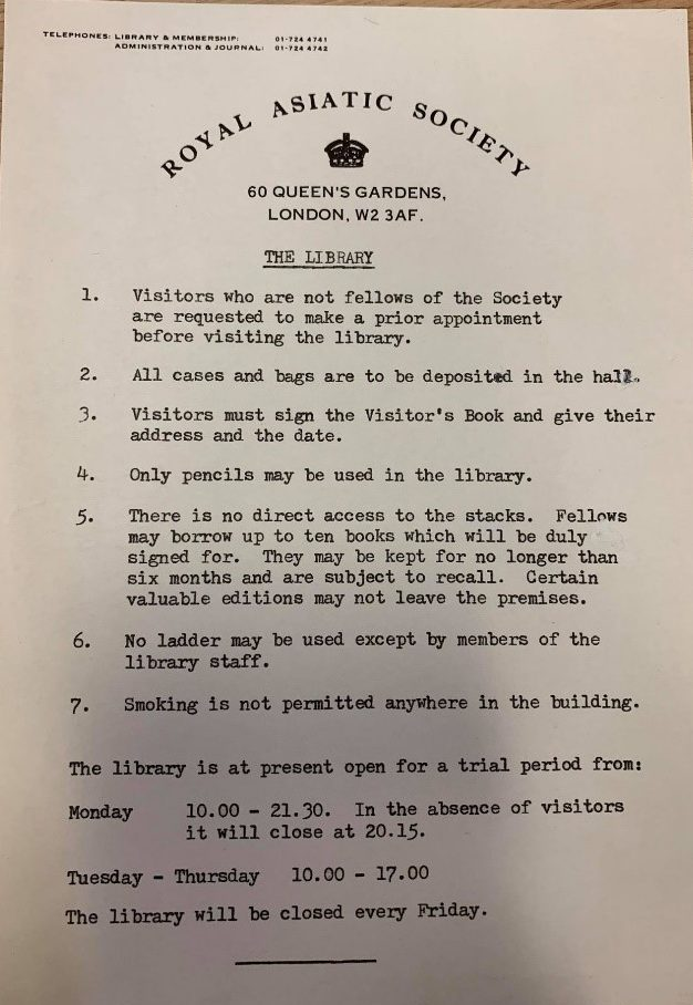 Previous Library regulations.